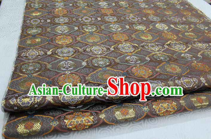 Chinese Traditional Royal Palace Pattern Brown Brocade Mongolian Robe Tibetan Robe Fabric, Chinese Ancient Costume Satin Hanfu Kimono Material