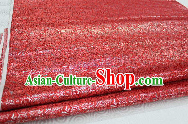 Chinese Traditional Royal Palace Pattern Cheongsam Red Brocade Fabric, Chinese Ancient Costume Satin Hanfu Material