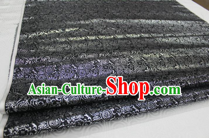 Chinese Traditional Royal Palace Pattern Cheongsam Black Brocade Fabric, Chinese Ancient Costume Satin Hanfu Material