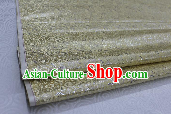 Chinese Traditional Royal Palace Pattern Cheongsam Light Golden Brocade Fabric, Chinese Ancient Costume Satin Hanfu Material