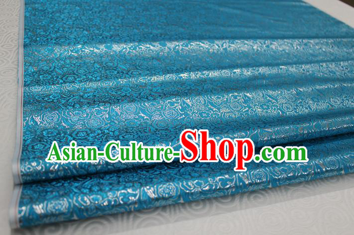 Chinese Traditional Royal Palace Pattern Cheongsam Lake Blue Brocade Fabric, Chinese Ancient Costume Satin Hanfu Material