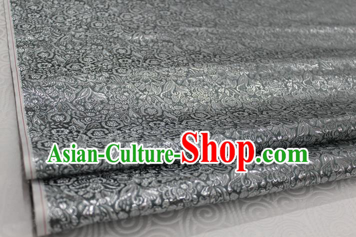 Chinese Traditional Royal Palace Pattern Cheongsam Deep Grey Brocade Fabric, Chinese Ancient Costume Satin Hanfu Material