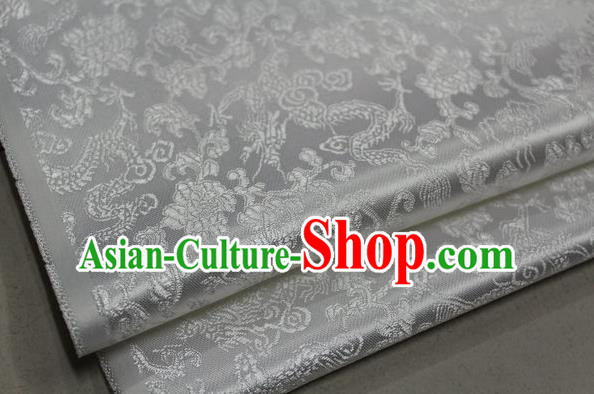 Chinese Traditional Ancient Costume Palace Dragons Pattern Mongolian Robe White Brocade Tang Suit Fabric Hanfu Material