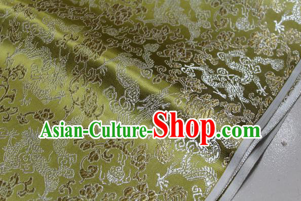 Chinese Traditional Ancient Costume Palace Dragons Pattern Mongolian Robe Green Brocade Tang Suit Fabric Hanfu Material