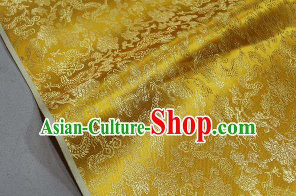 Chinese Traditional Ancient Costume Palace Dragons Pattern Mongolian Robe Golden Brocade Tang Suit Fabric Hanfu Material