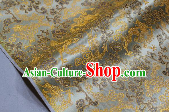 Chinese Traditional Ancient Costume Palace Dragons Pattern Mongolian Robe Yellow Brocade Tang Suit Fabric Hanfu Material