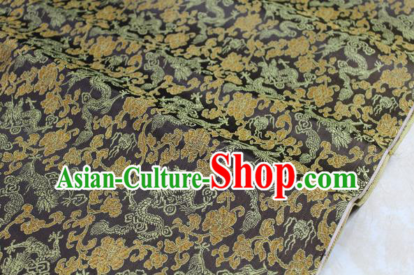 Chinese Traditional Ancient Costume Palace Dragons Pattern Mongolian Robe Coffee Brocade Tang Suit Fabric Hanfu Material
