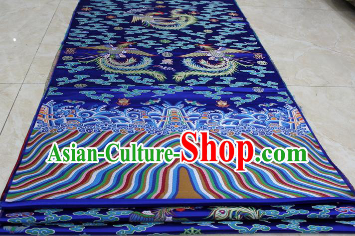 Chinese Traditional Ancient Costume Palace Phoenix Pattern Mongolian Robe Royalblue Brocade Tang Suit Fabric Hanfu Material
