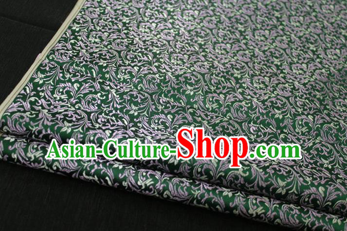 Chinese Traditional Palace Pattern Tang Suit Cheongsam Green Brocade Fabric, Chinese Ancient Costume Hanfu Satin Material