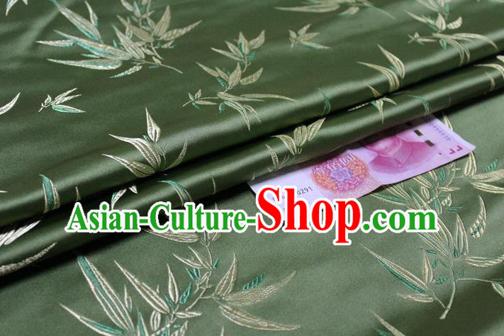 Chinese Traditional Palace Bamboo Pattern Tang Suit Cheongsam Green Brocade Fabric, Chinese Ancient Costume Hanfu Material