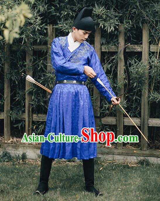 Traditional Chinese Ming Dynasty Blades Swordsmen Clothing Ancient Imperial Guards Hanfu Embroidered Costume for Men