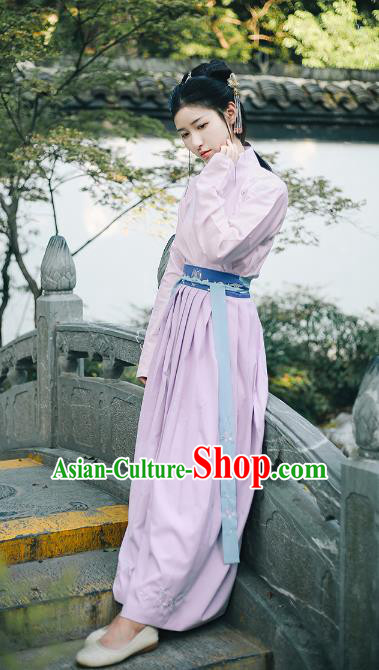 Traditional Chinese Ming Dynasty Young Lady Costume Ancient Hanfu Embroidered Magnolia Blouse and Skirt Complete Set for Women