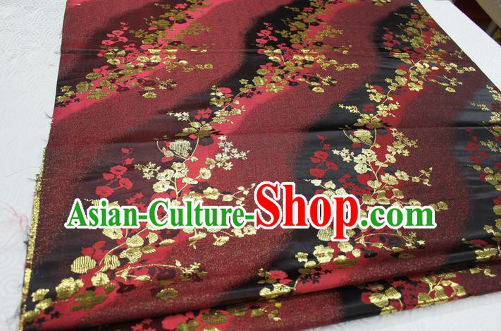 Chinese Traditional Palace Wintersweet Pattern Cheongsam Brocade Fabric, Chinese Ancient Costume Tang Suit Hanfu Satin Material