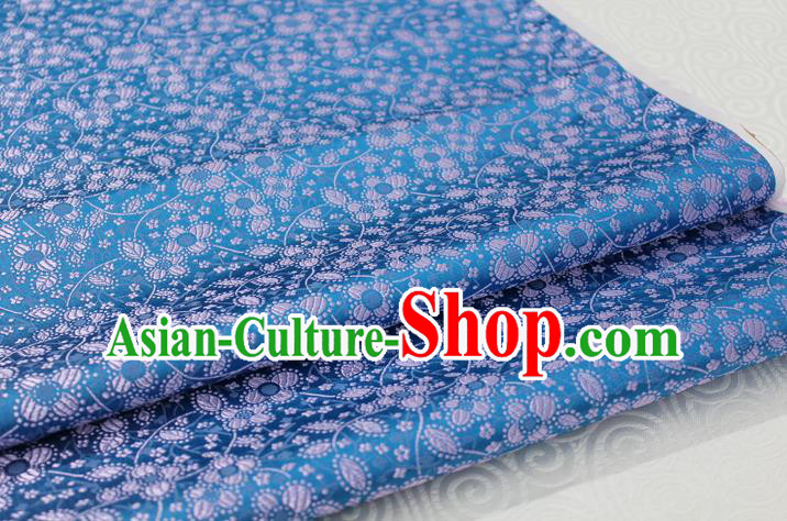 Chinese Traditional Ancient Costume Palace Flowers Pattern Cheongsam Light Blue Brocade Tang Suit Fabric Hanfu Material