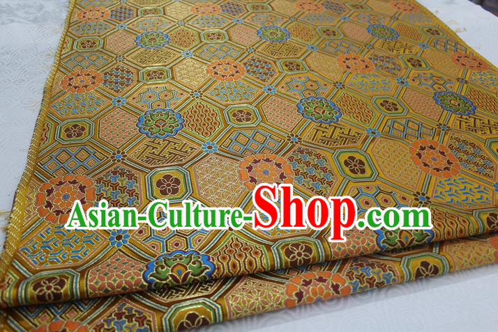 Chinese Traditional Ancient Costume Palace Pattern Mongolian Robe Golden Brocade Tang Suit Fabric Hanfu Material