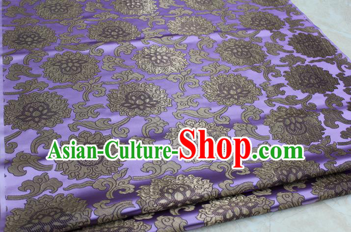 Chinese Traditional Ancient Costume Palace Lotus Pattern Mongolian Robe Lilac Brocade Tang Suit Fabric Hanfu Material