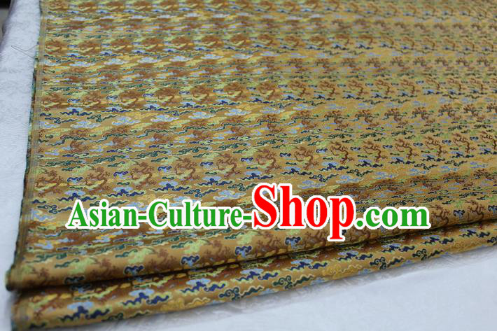Chinese Traditional Ancient Costume Palace Lotus Pattern Mongolian Robe Golden Brocade Tang Suit Fabric Hanfu Material