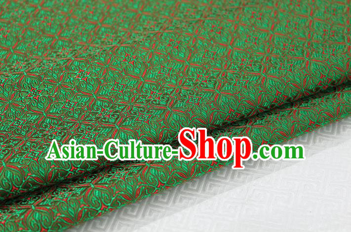 Chinese Traditional Ancient Costume Palace Pattern Cheongsam Green Brocade Tang Suit Fabric Hanfu Material
