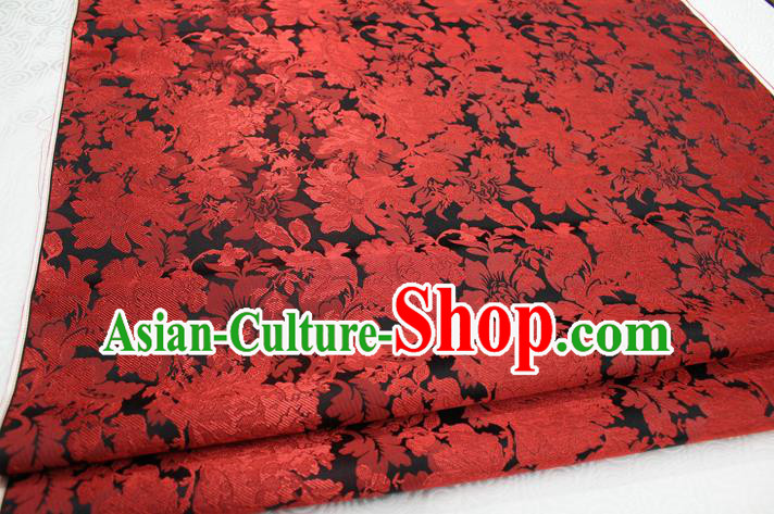 Chinese Traditional Ancient Costume Palace Red Flower Pattern Xiuhe Suit Brocade Cheongsam Satin Mongolian Robe Fabric Hanfu Material
