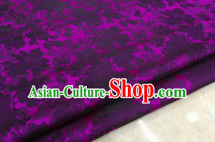 Chinese Traditional Ancient Costume Palace Flower Pattern Xiuhe Suit Purple Brocade Cheongsam Satin Mongolian Robe Fabric Hanfu Material