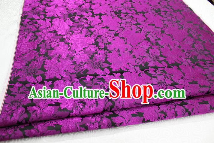 Chinese Traditional Ancient Costume Palace Purple Flower Pattern Xiuhe Suit Brocade Cheongsam Satin Mongolian Robe Fabric Hanfu Material