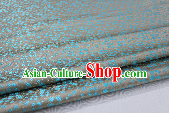 Chinese Traditional Ancient Costume Palace Pattern Cheongsam Tibetan Robe Grey Brocade Tang Suit Fabric Hanfu Material