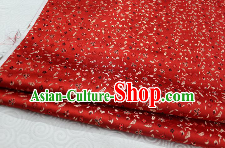 Chinese Traditional Ancient Costume Palace Flowers Pattern Cheongsam Red Brocade Tang Suit Satin Fabric Hanfu Material