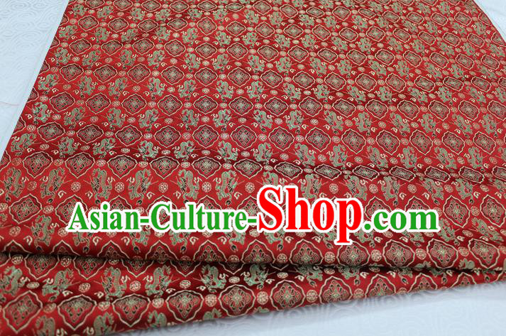 Chinese Traditional Ancient Costume Palace Pattern Tang Suit Cheongsam Red Brocade Satin Fabric Hanfu Material
