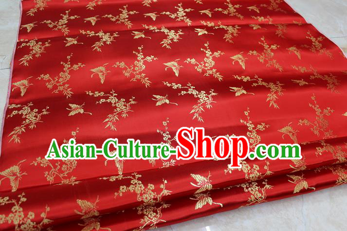 Chinese Traditional Ancient Costume Palace Butterfly Pattern Cheongsam Red Brocade Tang Suit Satin Fabric Hanfu Material