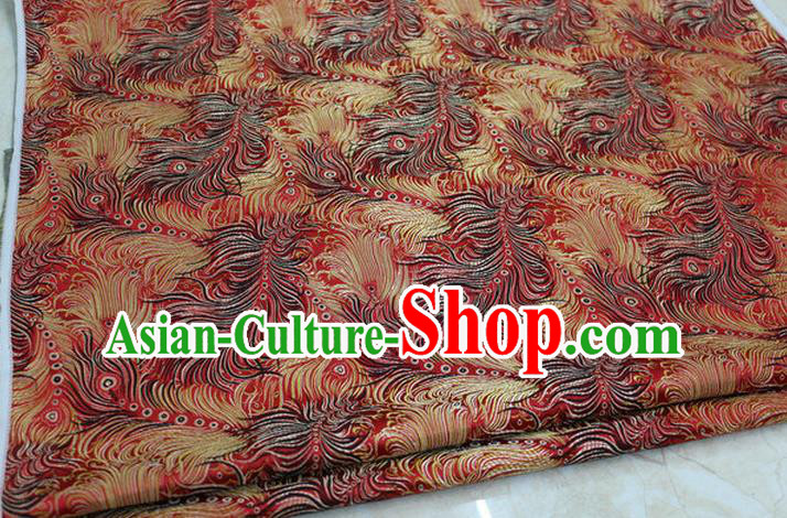 Chinese Traditional Ancient Costume Palace Feather Pattern Tang Suit Red Brocade Cheongsam Satin Fabric Hanfu Material