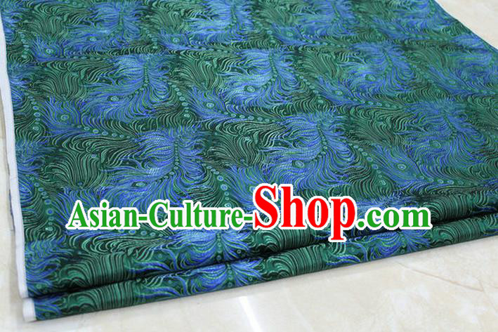 Chinese Traditional Ancient Costume Palace Feather Pattern Tang Suit Green Brocade Cheongsam Satin Fabric Hanfu Material