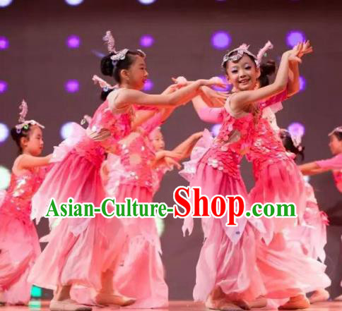 Traditional Chinese Yangge Fan Dance Costume, Folk Dance Drum Dance Uniform Yangko Pink Clothing for Kids