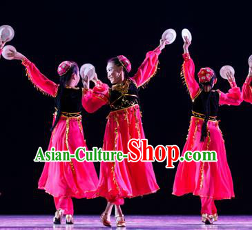 Traditional Chinese Uyghur Nationality Dancing Costume, Folk Dance Ethnic Costume, Chinese Minority Nationality Uigurian Dance Costume for Kids