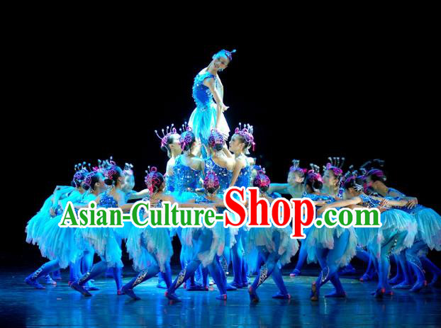 Traditional Chinese Yangge Fan Dance Costume, Folk Dance Drum Dance Blue Uniform Yangko Clothing for Kids