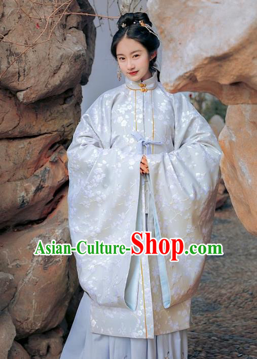 Traditional Chinese Ming Dynasty Princess Nobility Lady Costume Embroidered Wide Sleeve Cloak for Women