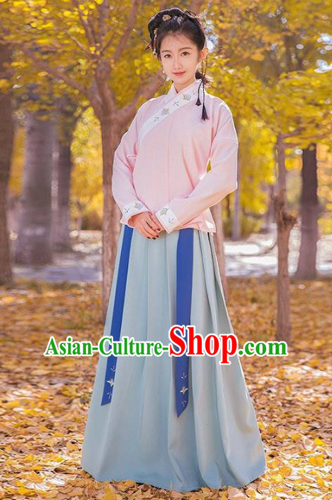 Traditional Chinese Ming Dynasty Palace Lady Costume Ancient Princess Embroidered Clothing for Women