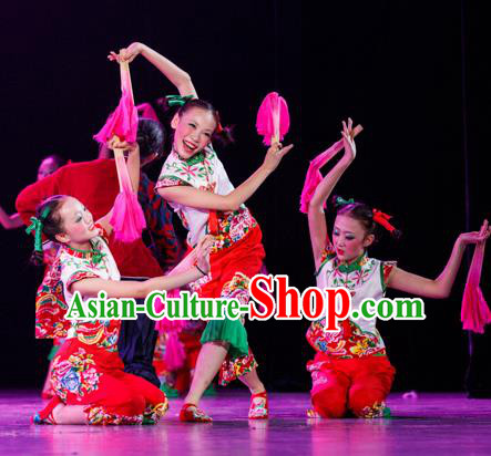 Traditional Chinese Yangge Fan Dance Costume, Folk Dance Drum Dance Uniform Yangko Clothing for Kids