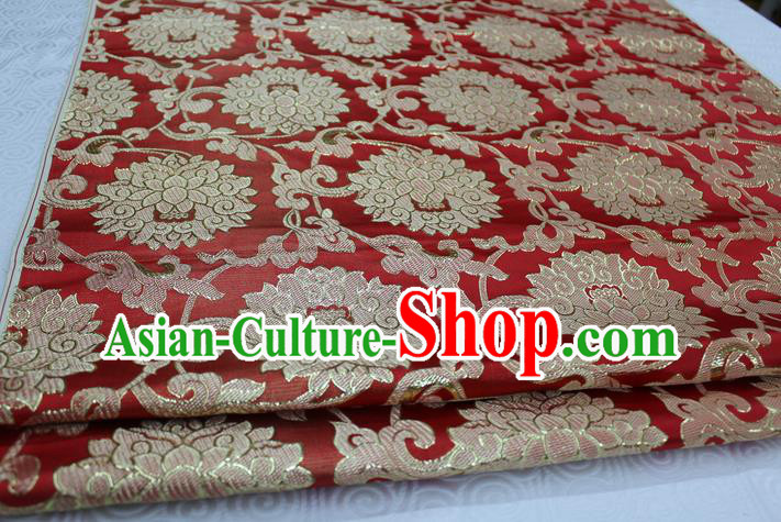 Chinese Traditional Ancient Costume Palace Pattern Xiuhe Suit Red Brocade Cheongsam Satin Mongolian Robe Fabric Hanfu Material