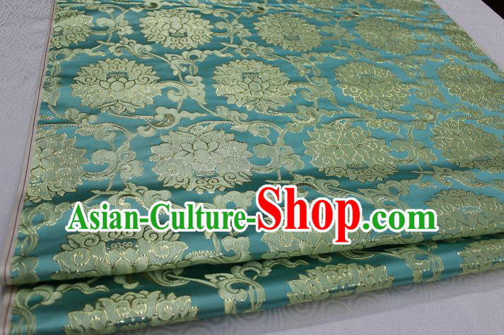 Chinese Traditional Ancient Costume Palace Pattern Xiuhe Suit Blue Brocade Cheongsam Satin Mongolian Robe Fabric Hanfu Material