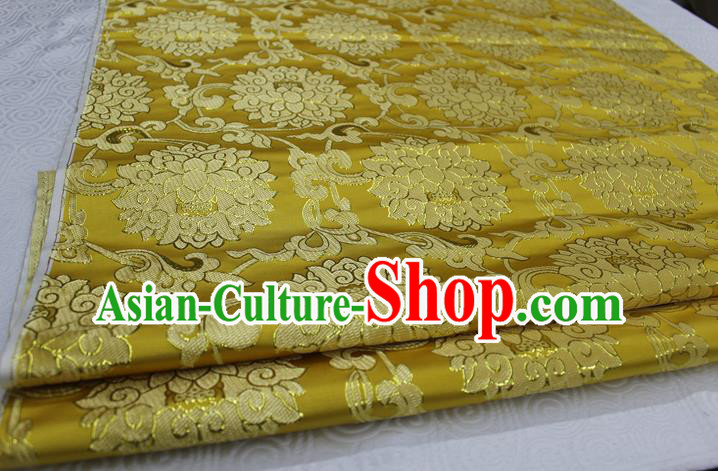 Chinese Traditional Ancient Costume Palace Pattern Xiuhe Suit Golden Brocade Cheongsam Satin Mongolian Robe Fabric Hanfu Material