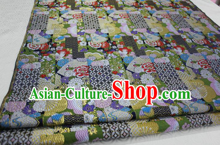 Chinese Traditional Ancient Costume Palace Kimono Pattern Xiuhe Suit Green Brocade Cheongsam Satin Fabric Hanfu Material