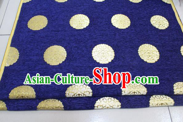 Chinese Traditional Ancient Costume Palace Pattern Royalblue Brocade Mongolian Robe Satin Fabric Hanfu Material