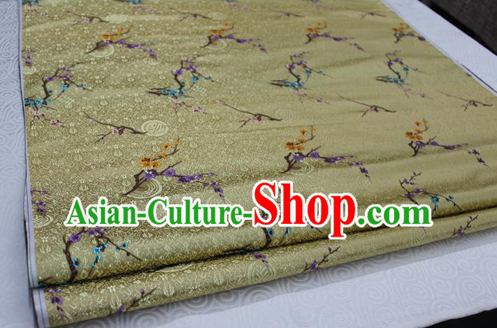 Chinese Traditional Ancient Costume Palace Wintersweet Pattern Golden Cheongsam Brocade Xiuhe Suit Satin Fabric Hanfu Material