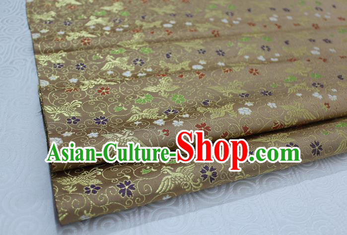 Chinese Traditional Ancient Costume Palace Phoenix Pattern Cheongsam Bronze Brocade Xiuhe Suit Satin Fabric Hanfu Material