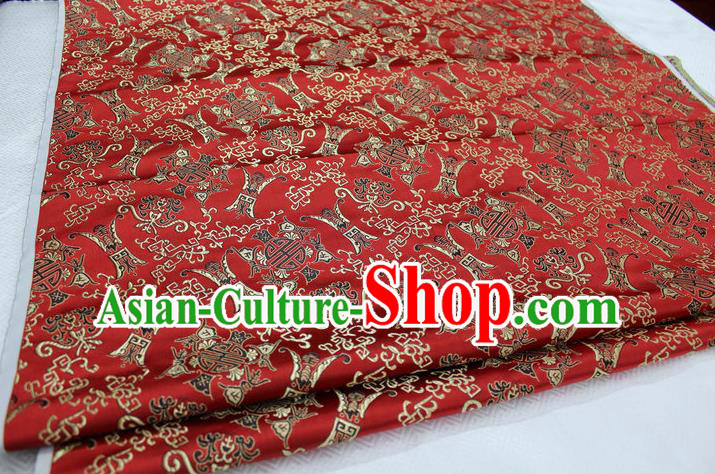 Chinese Traditional Ancient Costume Palace Pattern Cheongsam Red Nanjing Brocade Xiuhe Suit Satin Fabric Hanfu Material