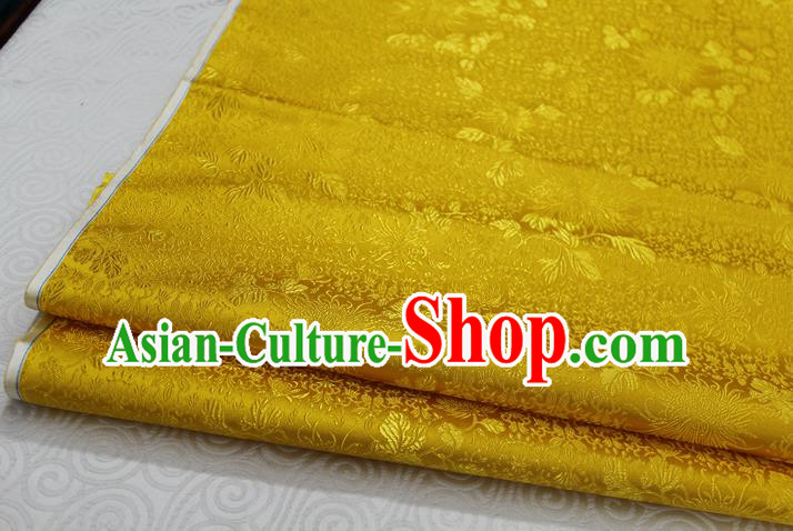 Chinese Traditional Ancient Costume Palace Chrysanthemum Pattern Cheongsam Yellow Brocade Xiuhe Suit Satin Fabric Hanfu Material