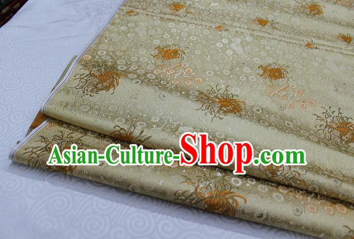 Chinese Traditional Ancient Costume Palace Chrysanthemum Pattern Cheongsam Golden Brocade Xiuhe Suit Satin Fabric Hanfu Material