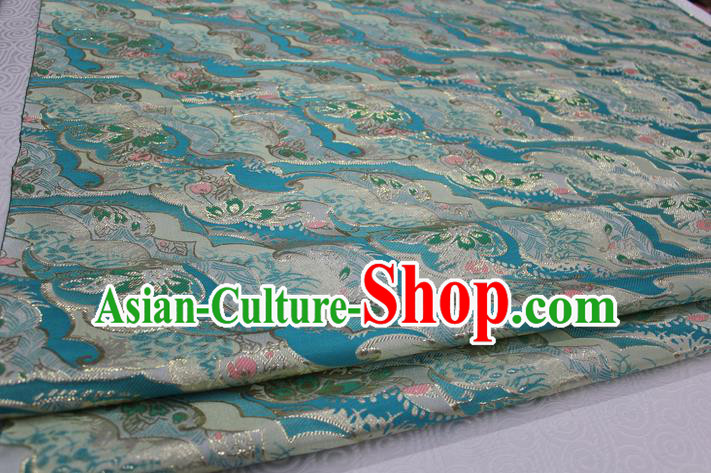 Chinese Traditional Ancient Costume Palace Pattern Kimono Cheongsam Blue Brocade Tang Suit Satin Fabric Hanfu Material
