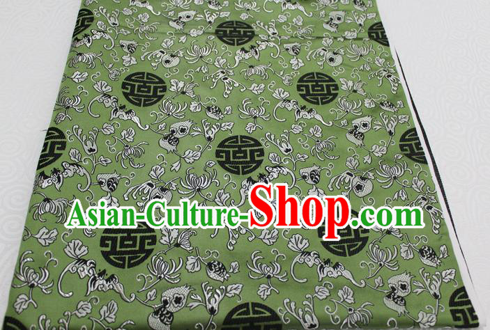 Chinese Traditional Ancient Costume Palace Pomegranate Pattern Cheongsam Green Brocade Tang Suit Satin Fabric Hanfu Material