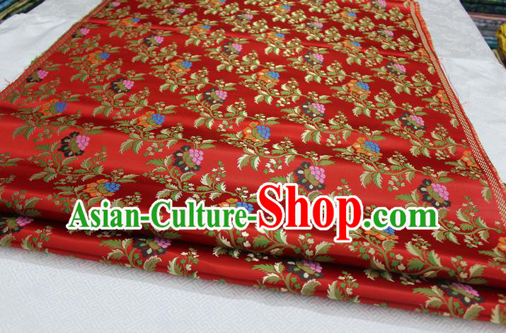 Chinese Traditional Ancient Costume Palace Grape Pattern Cheongsam Red Brocade Tang Suit Satin Fabric Hanfu Material